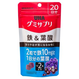 UHA味覚糖 グミサプリ 鉄&葉酸 20日分 40粒