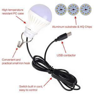 Onite ポータブル 電球形 USB LED 電球 USB端子 ON/OFF 電源スイッチ フック...