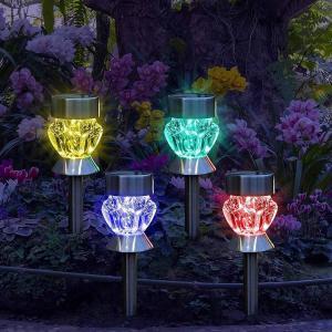 GreeSuit ステンドグラス風 ソーラーライト 屋外 ガーデンライト 7光変更(4本セット) 自動点灯/自動消灯 防水|benriithiban