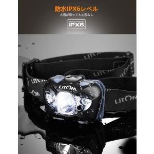 Litom LEDヘッドライト 明るさ168ルーメン センサー機能 防水仕様|benriithiban