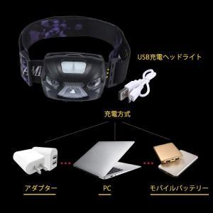 Umiwe LEDヘッドランプ センサー機能 高輝度 超強力200ルーメン 防水 軽量 3つ点灯モード USB充電 ヘッドライト|benriithiban