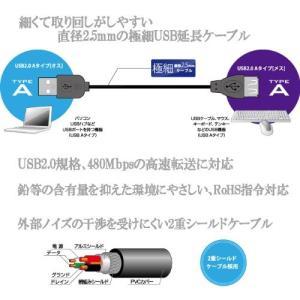 グリーンハウス USB2.0 ケーブル スリム A-A 1.5m ブラック GH-USBS20A/1...