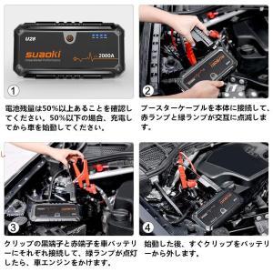 suaoki ジャンプスターター U28 エンジンスターター 大容量 超強力 最大2000A 安全保...