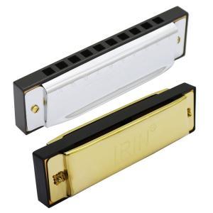 IRIN ハーモニカ ブルースC調 ダイアトニック 高級 10穴 子供 大人 初心者 入門 収納ケース付き メタル 2色(ゴールド)