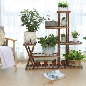 TCATEC フラワースタンド 棚 木製 5段 花台 植物ディスプレイラック 組立品 ガーデニング/フラワー/園芸 ラック/棚 鉢植え スタ|benriithiban