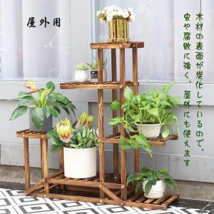 木製 フラワースタンド 5段 花台 ガーデニング 棚 フラワーラック 園芸 鉢置きスタンド 鉢植え 盆栽棚 軽量/頑丈 ベランダ/屋外/室内|benriithiban