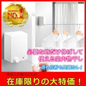 物干し 室内 ワイヤー 洗濯物干し 室内干し 部屋干し おしゃれ DIY 4.2mまで対応 巻き取り式 壁付 白