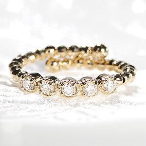ゴールドと繊細なダイヤモンドの煌めき。。。形状記憶カットボールワイヤーに、輝きの良いダイヤを5石セッ...