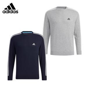 adidas アディダス ゴルフウェア メンズ セーター スリーストライプス 長袖クルーネックセーター BO135 2021年モデル 21FW 秋冬 長袖 クールネック ゴルフ|bespo