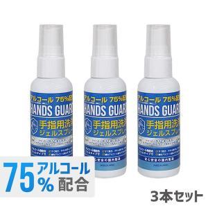 ハンドジェル 携帯用 エタノール 75% 日本製 60ml スプレー 3本セット アルコール ハンズガード 手指 洗浄 ゼル アウトドア ハンドゼル bespo