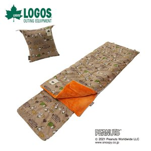 LOGOS ロゴス アウトドア 寝具 寝袋 SNOOPY KIDSクッションシュラフ 86001090 スヌーピー ウッドストック まくらポケット付き 丸洗いOK クッション型収納袋付き|bespo