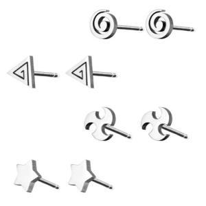 ピアス ステンレス ワンポイント うずまき / 三角 / 星 / 風車|bessan