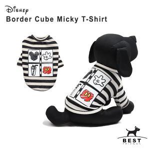 ボーダーキューブミッキーTS     犬 服 犬の服 ドッグウェア Tシャツ 綿100% ディズニー disney 犬 ボーダー 伸縮性|best-friends