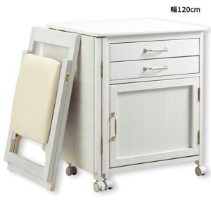 折りたためるデスクとチェア2点セット 〔幅120cm〕 木製 キャスター付きデスク ホワイト(白) 〔半完成品〕 送料無料の写真