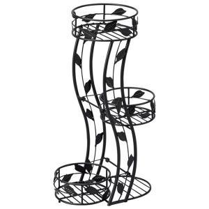 【商品名】 プランタースタンド/フラワースタンド 【3段】 スチール製 高さ55.5cm リーフデザ...