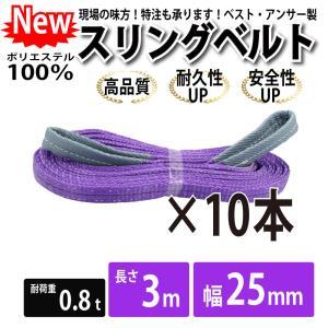 業務用 スリング スリングベルト ナイロンスリング ベルトスリング 10本セット 幅 25mm 3m 引っ越し 吊り具|bestanswe