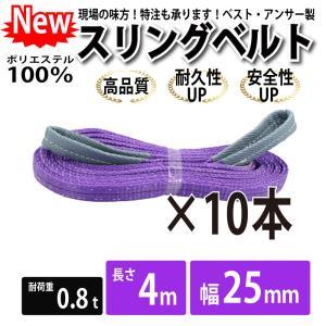 業務用 スリング スリングベルト ナイロンスリング ベルトスリング 10本セット 幅 25mm 4m 引っ越し 吊り具|bestanswe