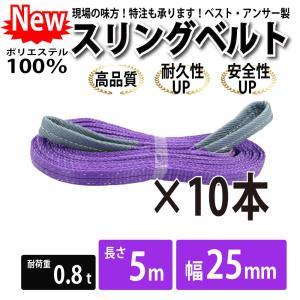 業務用 スリング スリングベルト ナイロンスリング ベルトスリング 10本セット 幅 25mm 5m 引っ越し 吊り具|bestanswe