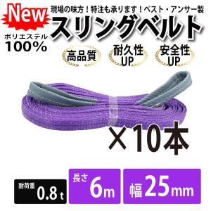 業務用 スリング スリングベルト ナイロンスリング ベルトスリング 10本セット 幅 25mm 6m 引っ越し 吊り具|bestanswe