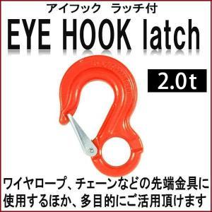 フック アイフック ラッチ付 2.00t スリングベルト先端 ワイヤー ロープ チェーン ベルト フック 道具 工具|bestanswe