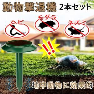 モグラ対策 アニマルガーディアン 2本セット 動物 避け 害獣 撃退 田んぼ 畑 農作物 被害 対策 よせつけない 追い払う ソーラー 充電 ネズミ ヘビ bestanswe