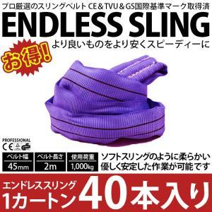 業務用 スリング スリングベルト ナイロンスリング ベルトスリング エンドレス 2m 1000kg カートン 40本 引っ越し まとめて セット 大量 吊り具 bestanswe