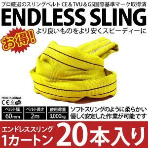 業務用 スリング スリングベルト ナイロンスリング ベルトスリング エンドレス 2m 3000kg カートン 20本 引っ越し まとめて セット 大量 吊り具|bestanswe
