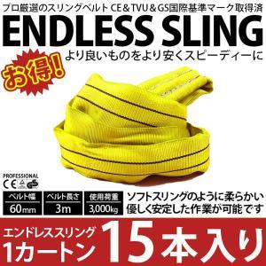 業務用 スリング スリングベルト ナイロンスリング ベルトスリング エンドレス 3m 3000kg カートン 15本 引っ越し まとめて セット 大量 吊り具 bestanswe