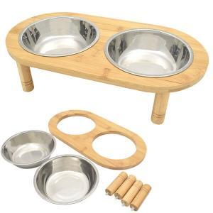 ペット用ダブルフードボウル 食器 ダブル ボウル 犬用食器 猫用食器 ペット フードボール ウォーターボウル 餌入れ 水飲み器 給水器 皿 給餌器 超小型犬 小型犬|bestline
