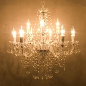 シャンデリア 天井照明 ヨーロッパ風 ノックダウン シャンデリア9灯 シャトー Clear ランプ ライト ペンダントランプ 照明|bestline