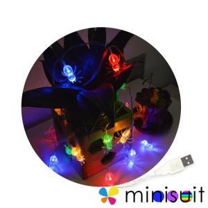 ハロウィン 飾り 蜘蛛 電池式 LED 2M 20球 2モード点灯 スパイダー ストリングライト 四...