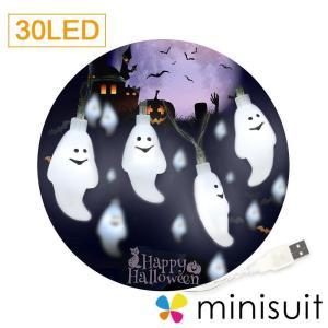 ハロウィン 飾り led ゴースト 幽霊 30球 3m LED 省エネ USBタイプ 照明飾 電飾