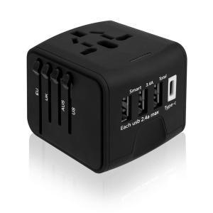 海外旅行充電器 海外旅行用変換プラグ  3USBポートとType-Cポート付(100V〜240V) ...