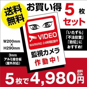 【送料無料】5枚セット 視線でドキ!防犯『監視カメラ作動中』 プレート 看板 W200mm×H290...