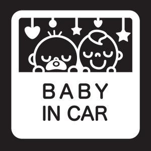 赤ちゃんが乗っていますステッカーB04 防水耐光仕様。サイズ:15cm×15cm カラー:白ホワイト|bestsupplyshop