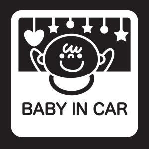 赤ちゃんが乗っていますステッカーB05 防水耐光仕様。サイズ:15cm×15cm カラー:白ホワイト|bestsupplyshop