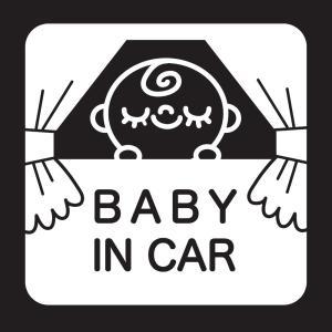 赤ちゃんが乗っていますステッカーB06 防水耐光仕様。サイズ:15cm×15cm カラー:白ホワイト|bestsupplyshop