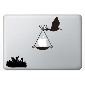 MacBook Air/Pro 13インチ用背面デザインステッカー「りんごを運ぶ鳥」|bestsupplyshop