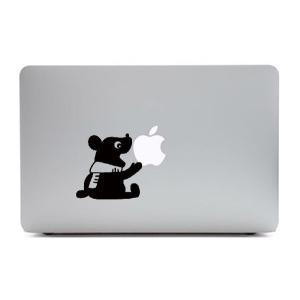 MacBook Air11インチ用背面デザインステッカー「りんごをかじるくま」|bestsupplyshop
