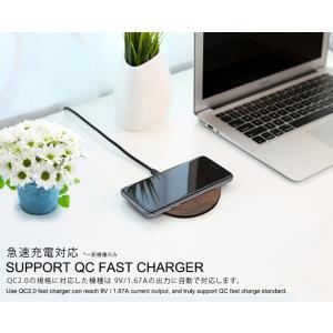 天然木の質感が心地よい 木製置くだけ充電 ワイヤレス充電器Qiチャージャー ブラウンウッド for iPhone Xs / XR / 8(Plus) / Galaxy Note8/S8 etc...|bestsupplyshop|02