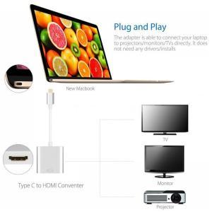 USB-C(USB3.1 Type C) to HDMI 変換コネクタ シルバー/ MacBook(MacBook Pro)にHDMI(映像・音声)を接続可能にするアダプター。4K解像度(3840 x 2160)対応!|bestsupplyshop|02