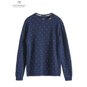 送料無料 SCOTCH&SODA/スコッチ&ソーダ Ams Blauw indigo sweat with allover prints  bethel-by