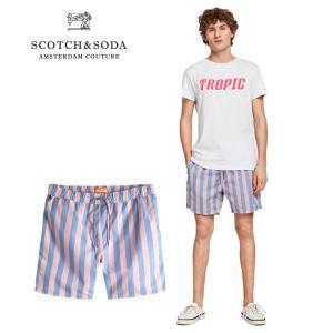 送料無料 SCOTCH&SODA/スコッチ&ソーダ Preppy Stripe Swim Shorts ピンク×ブルー bethel-by