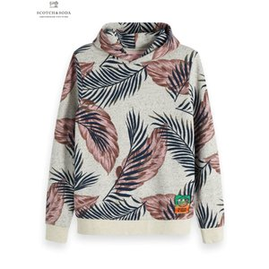 SCOTCH&SODA/スコッチ&ソーダ Neps felpa hoodie with all-over print and sleeve embroidery|bethel-by