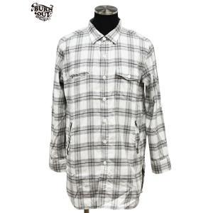 SALE/70%OFF BURNOUT/バーンアウト サイドポケット付き セミロングシャツ / ホワイト 定価:¥21,000 bethel-by