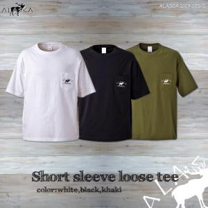 ALASCA Tシャツ メンズ 半袖 17-18 ALASCA ショートスリーブ ルーズ ポケット moose レディース  メール便送料無料 alaska アラスカ|betties-shop