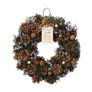 クリスマスリース リース クリスマス ナチュラルリース ブルー ブラウン 青 茶色 玄関 Chris...