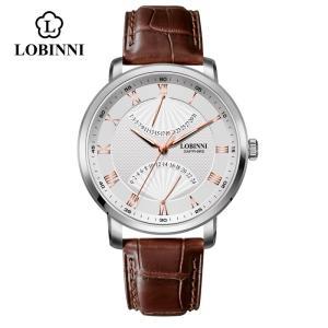 腕時計 メンズ ブランド LOBINNI おしゃれ クオーツ 本革 スイス ゴールド|bewide