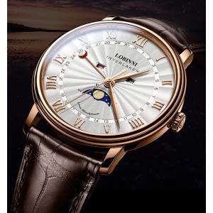 LOBINNI メンズ 腕時計 トリプルカレンダー ムーンフェイズ ポインターデイト MIYOTA 40mm|bewide