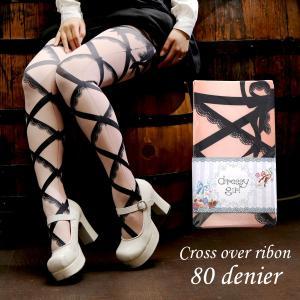 dressy girl ドレッシィガール Ladys tights 80denier Cross over ribon(レディースタイツ 80デニール クロスオーバーリボン)|beyondcool
